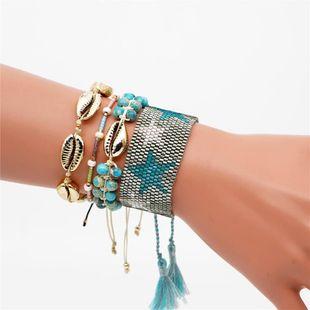 Fashion Turquoise Shell Fringe Women's Bracelet Set MGB Rice Beads Weave Pentagram NHGW177238's discount tags