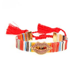 New accessories bohemian woven fringed bracelet with zircon full diamond sexy lip bracelet NHPY177284's discount tags