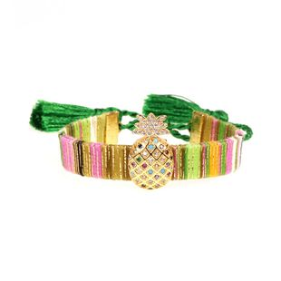 Hot Jewelry Micro Inlay Color Zircon Fruit Pineapple Bracelet Bohemian Fringe Bracelet NHPY177287's discount tags