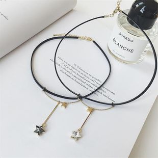 Sweet crystal pentagram stars short necklace chain necklace clavicle chain jewelry female NHMS177166's discount tags