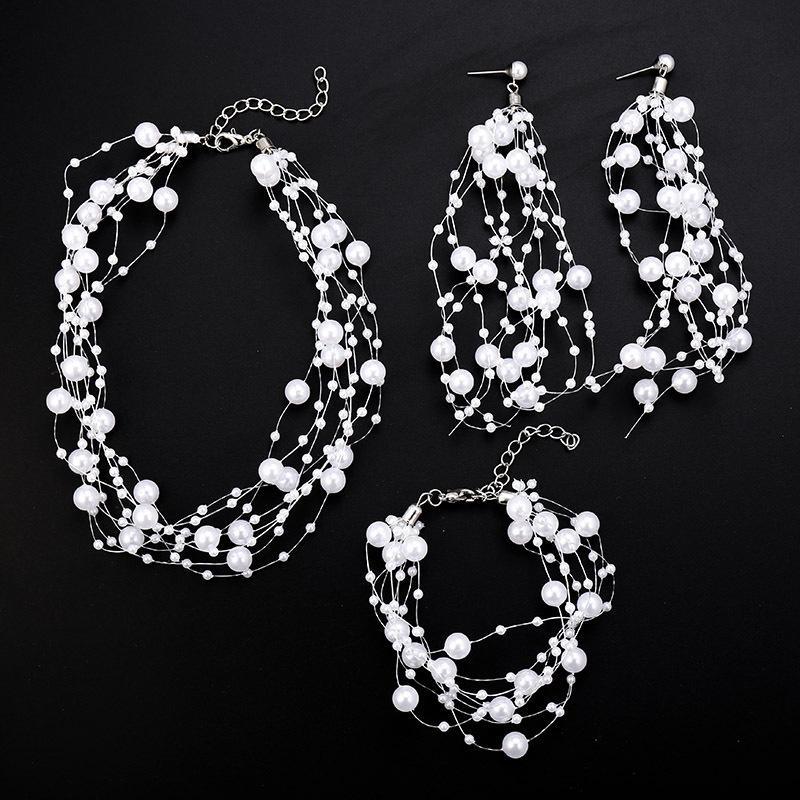 Pearl fish line tassel long jewelry set necklace earrings bracelet three-piece set NHSD177245