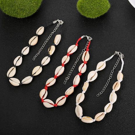 New shell necklace female bohemian short hand-woven clavicle chain necklace NHSD177255's discount tags