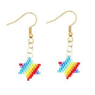 Colorful five-pointed star pattern jewelry Miyuki rice beads woven female earrings NHGW177234's discount tags