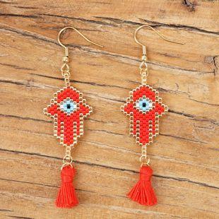 Totem palm jewelry Miyuki rice beads woven female earrings NHGW177237's discount tags