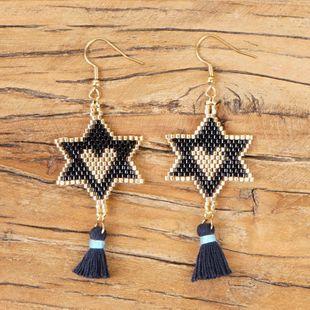 Five-pointed star love pattern earrings Miyuki rice beads braided ladies earrings NHGW177241's discount tags