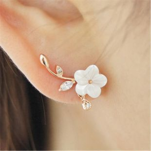 925 sterling silver earrings leaves white shell flowers dripping earrings female NHMS177097's discount tags