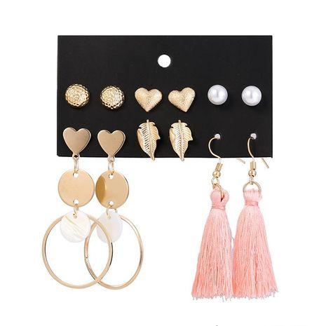 Pearl shell earrings geometric long heart-shaped tassel earrings set metal leaf jewelry NHSD177253's discount tags