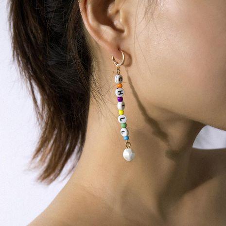 Fashion cute letter shaped pearl long earrings cute girl earrings female NHBQ177075's discount tags