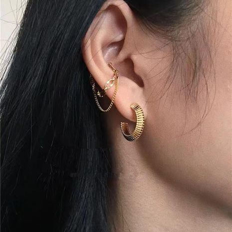 Chain double tassel single male and female wild earrings NHYQ177307's discount tags