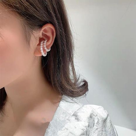 Sweet double-ring pearl earrings without pierced fashion ear clip earrings NHYQ177312's discount tags