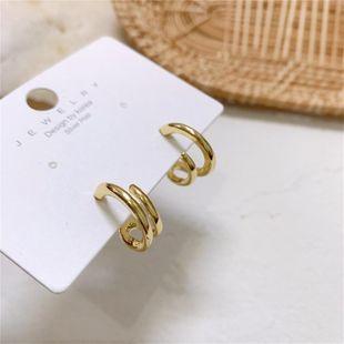 Mini versión simple de aretes pequeños aretes diarios de doble anillo NHYQ177314's discount tags