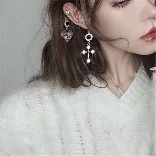 Pendientes joya negra viento oscuro asimétrico amor cruz pendientes de diamantes mujer NHYQ177315's discount tags