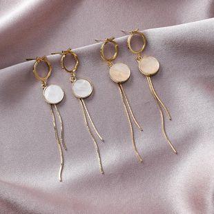 925 Silver Simple Geometric Round Shell Tassel Earrings Long Girl Earrings NHMS177091's discount tags