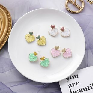 Fashion sweet color crystal size love earrings small short girl heart-shaped earrings NHMS177092's discount tags