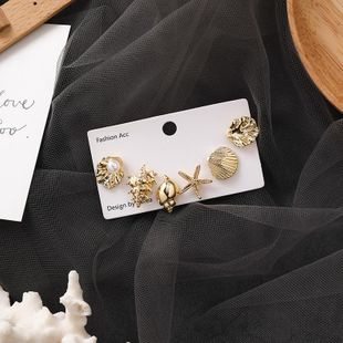 Literary sweet short paragraph simple starfish pearl shell conch earrings 6 sets of fashion earrings female NHMS177094's discount tags