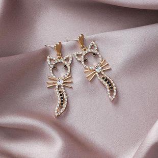 S925 silver sweet love rhinestone cat-shaped earrings long cartoon kitten shape ear jewelry female NHMS177106's discount tags