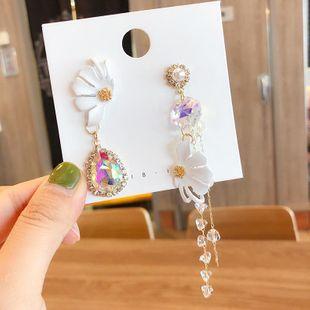 S925 silver sweet pearl flower crystal tassel earrings retro asymmetric white petal earrings female NHMS177107's discount tags