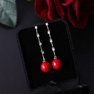 925 silver fashion long pearl zircon micro-set earrings red ball earrings bride earrings female NHMS177109's discount tags