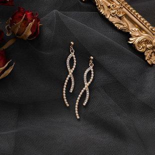 S925 silver pearl curved line earrings cross earrings new fashion female long earrings NHMS177117's discount tags