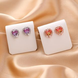S925 silver crystal zircon love gemstone earrings fashion micro-set colorful heart-shaped earrings NHMS177118's discount tags