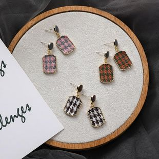 S925 silver fashion suede plaid texture earrings geometric short fabric girl earrings NHMS177121's discount tags
