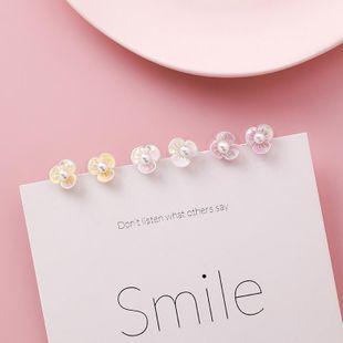 Color Pearl Mini Shell Flower 6 Piece Stud Earrings Fashion Set Earrings NHMS177126's discount tags