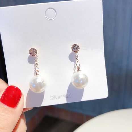 S925 silver rhinestone pearl tassel earrings net red fashion hundred popular earrings NHMS177134's discount tags