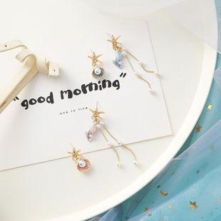 S925 silver starfish shell conch fringe earrings sweet asymmetrical literary earrings female NHMS177143's discount tags