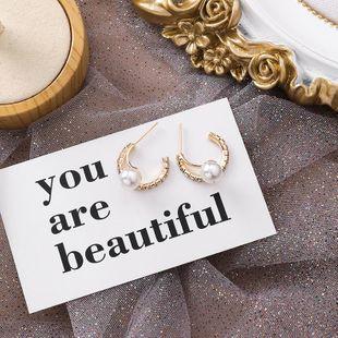 S925 silver rhinestone pearl semi-circular earrings new popular short earrings NHMS177155's discount tags