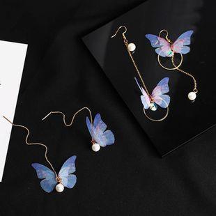 Fashion Butterfly Pearl Long Ear Wire Asymmetrical Tulle Butterfly Pearl Zircon Earrings NHMS177165's discount tags