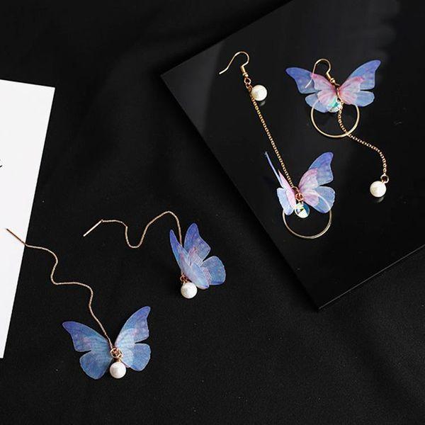 Fashion Butterfly Pearl Long Ear Wire Asymmetrical Tulle Butterfly Pearl Zircon Earrings NHMS177165