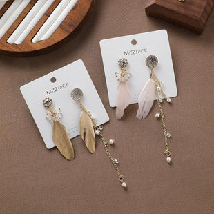 S925 silver retro fashion feather rhinestone chain tassel earrings long earrings NHMS177171's discount tags
