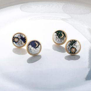 Three-dimensional Sun Moon Cloud Round Stud Earrings Sweet Embossed Earrings NHMS177176's discount tags