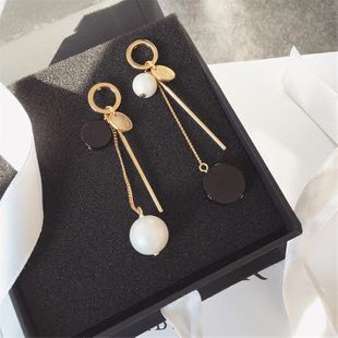 Fashion Multi-Element Black Pendant Long Asymmetric Earrings Pearl Geometry Vertical Stick Earrings NHMS177181's discount tags