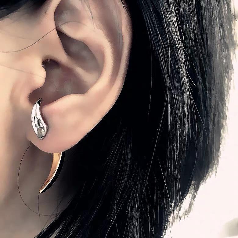 Simple horns earrings three-dimensional crescent earrings cold wind earrings NHYQ177296