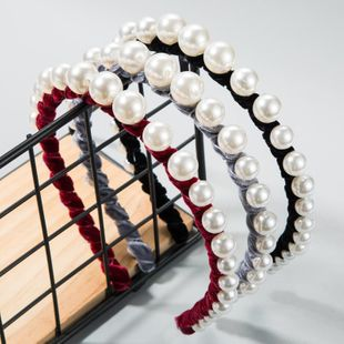 Diadema de terciopelo dorado de moda para mujer sola fila gran perla diadema fina de hada estupenda NHLN177042's discount tags