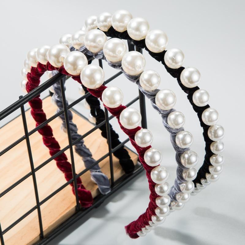 Fashion gold velvet headband women's single row big pearl super fairy thin headband NHLN177042