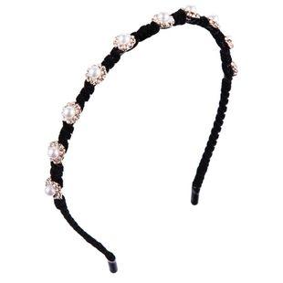 Accesorio para el cabello de terciopelo dorado dama diadema de diamantes de aleación dulce diadema de perlas de borde delgado NHLN177043's discount tags