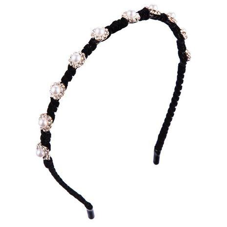 Gold velvet hair accessory lady sweet alloy diamond headband thin edge pearl headband NHLN177043's discount tags
