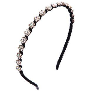Diadema de aleación femenina simple diadema lateral delgada diadema de moda para mujer con incrustaciones de diamantes de imitación hermosa hebilla de cabeza de flor NHLN177045's discount tags