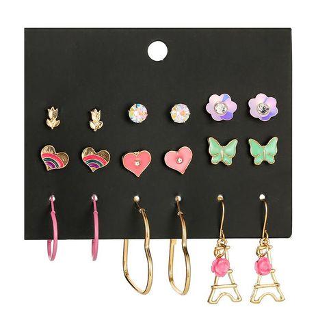 Explosion earrings popular butterfly drop oil combination earrings female Eiffel Tower earrings NHSD177247's discount tags