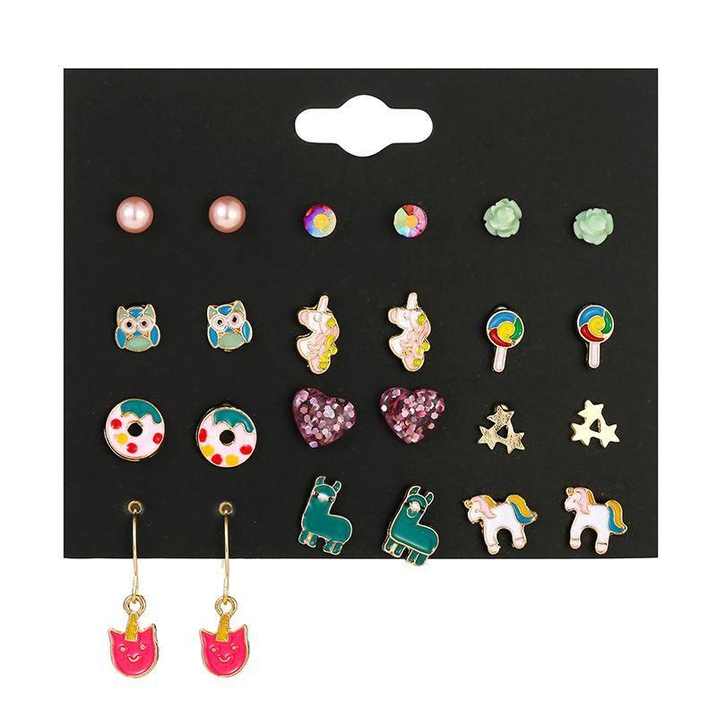 Drip oil small earrings fashion cute donut earrings temperament pearl fivepointed star earrings NHSD177248