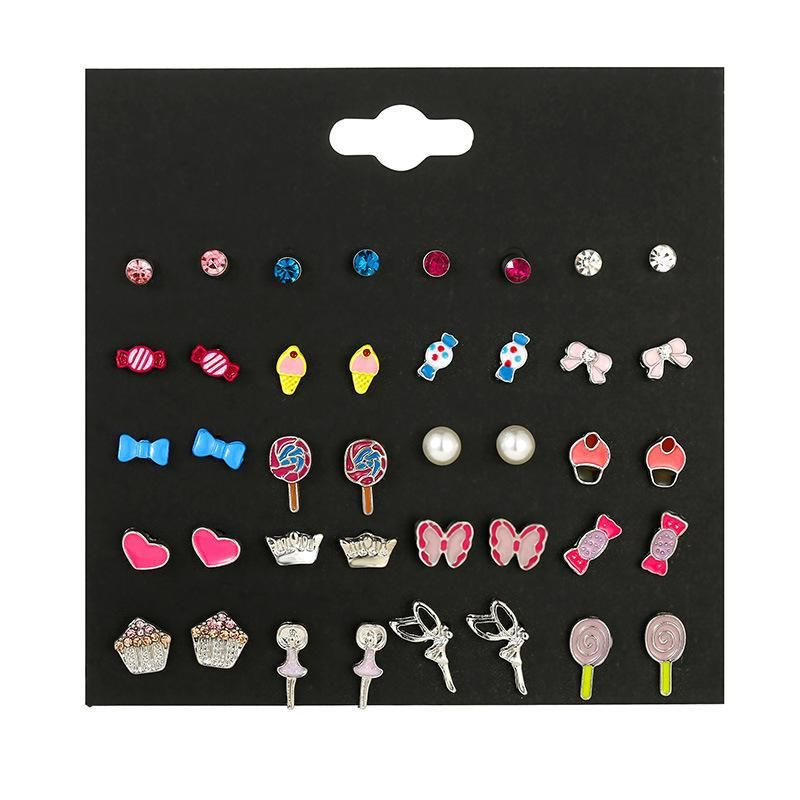Cute children's candy color earrings set pearl angel drop oil earrings small jewelry NHSD177250