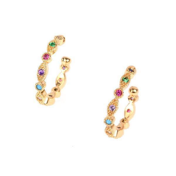 Fashion color zircon ear clips without pierced earrings C small earrings ear bone clip earrings NHPY177263