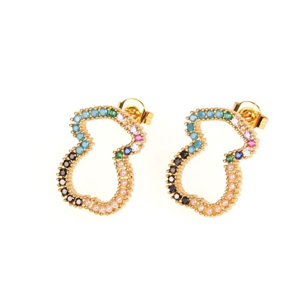 New micro-inlaid copper plated diamond bear earrings fashion creative hollow 8 word earrings NHPY177266