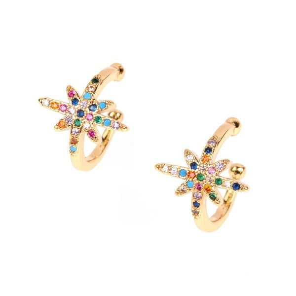 Fashion meter word meteor diamond earrings ear bone clip earrings C type small ear ring ear clip earrings NHPY177271