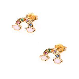 Pendientes femeninos temperamento diamante dulce nube arco iris pendientes joyería del oído NHPY177274's discount tags