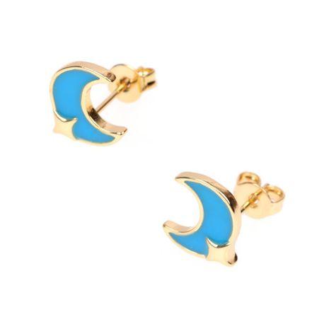 Drip oil stars moon earrings temperament fashion C-shaped earrings new earrings NHPY177281's discount tags