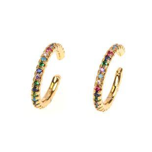 Nuevos pendientes calientes moda luz lujo perforada oreja clip de hueso micro-set fino clip de oreja de diamante NHPY177282's discount tags