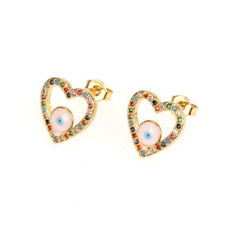 Fashion micro-set diamond eye earrings exquisite hollow love heart-shaped zircon earrings NHPY177288's discount tags